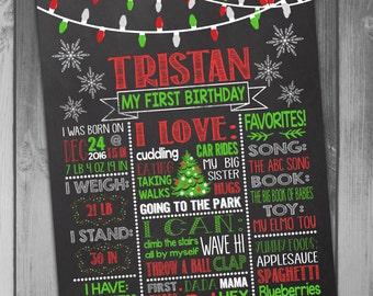 First Birthday Poster Chalkboard Birthday Sign Christmas Birthday Christmas Poster Milestone Poster Printable Poster 1st Birthday Poster