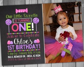 Baby Girl Birthday Invitation Girl Birthday First Birthday Photo Card 1st Birthday Candy Birthday Invitation Printable Birthday Chalkboard
