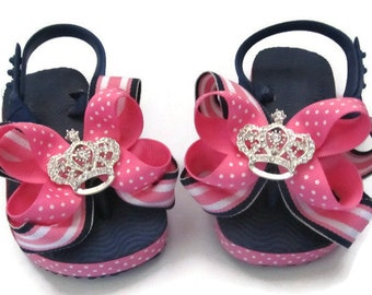 Princess Crown Navy and Hot Pink Sandals with Hot Pink Ribbon Bows newborn baby girl sandals, toddler sandals, baby sandals,