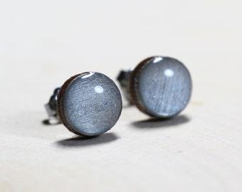 Silver Shimmer Post Earrings - Titanium Hypoallergenic 9mm