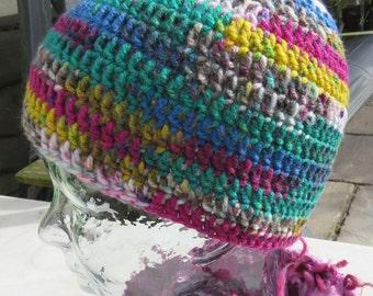 Crochet beanie hat in variegated yarn