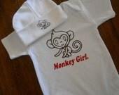 Monkey Girl Baby Onsie and Beanie Set - Gift Idea