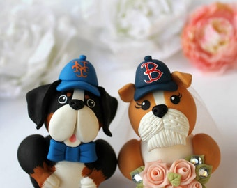 Wedding dog cake topper, custom bride and groom figurines, Bulldog and Bernese cake topper, cake topper with dog