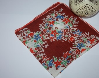 Stunning Vintage Handkerchief, Nearly Flawless, Red, Blue Flowers, White Red Vintage Hanky