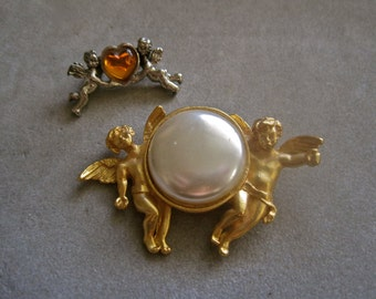 Angel Brooch Gold Angels Cupids Large White Pearl PLUS Little Angel Brooch with Faux Topaz Heart Shape Stone SET of 2 Vintage Brooches