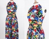 Vintage 1960s 1970s Dalani / Japanese Inspired Print / Floral Poly Maxi Dress/ Size Medium