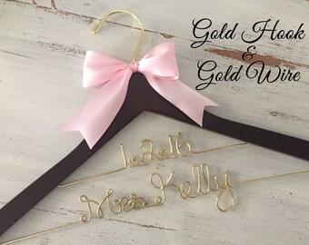 Gold Wire Wedding Hanger, Bridal Hanger, Personalized Bride Hanger, Gold Wedding, Brides Hanger, Mrs Hanger, Name Hanger, Personalized Gift