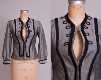 Victorian Jacket Early 1900 Grey Silk Formal Jacket