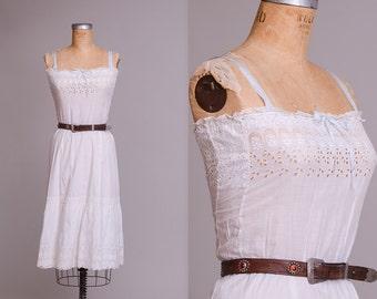 Edwardian Cotton Crescent Moon Eyelet Lace Bohemian Prarie Dress