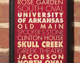 Arkansas Razorbacks Points of Interest Wall Art Sign Plaque, Gift Present, Home Decor, Vintage Style, never yield tusk, hog call AR Classic