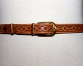 vtg 60s flowers and dreams BROWN leather woodstock belt boho extra small women kids