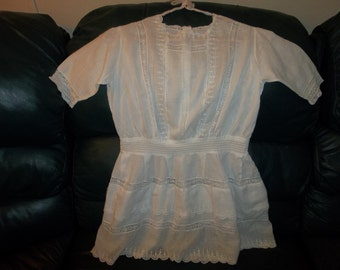 Girls Antique Dress..Victorian Era...Lawn & FRENCH Lace...Broderie Anglaise...Shabby Chic Condition, Bears..Dolls