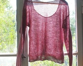Raspberry Raisin - Pure Linen Handmade knitted Pullover - individually made by kathrin k. -  OAK -  pure linen