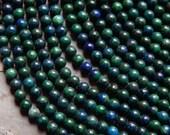 6mm Chrysocolla Round Polished Gemstone Beads, Half Strand (IND0C995)