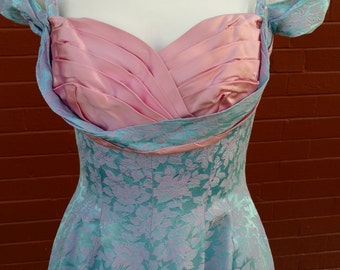 1950s Blue/Pink Brocade Dress