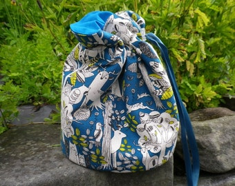 Woodland Project Bag. Small Drawstring bag ideal for knitting or crochet projects