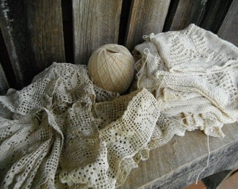Vintage Crochet and Knitting Scrap Project Collection - Cream Ecru