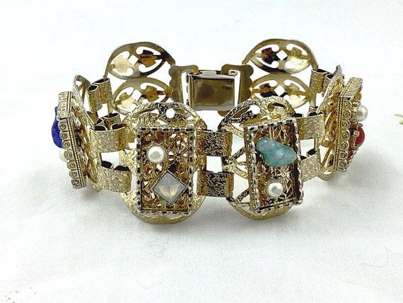 Jeweled vintage filigree bracelet, boho stone bracelet. Vintage Victorian style bracelet. Opal, lapis lazuli, coral, Quartz, bracelet