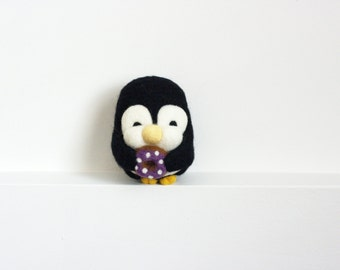 Needle Felted Penguin, Donut, Felt Toy, Purple, Candy, Sugar, Plush, Felt Animal, Penguin, Valentine's, Wool - Gus