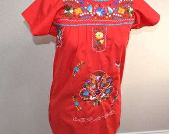 Vintage 80s  made in Mexico Folk Boho Ethnic  Ethnic Dress  Hippy Dress Boho Dress Floral teen girl dress