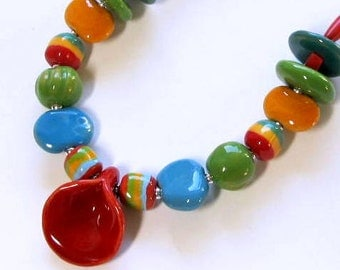 African Kazuri Beaded Lily Necklace, Fair Trade, Red, Yellow, Green, Blue, Sterling Silver, One-Of-A-Kind