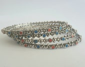 Sahara Set of Four Red and Blue Enamelled Granular Guelmim Moroccan handmade Sterling silver bangle bracelet medium to large