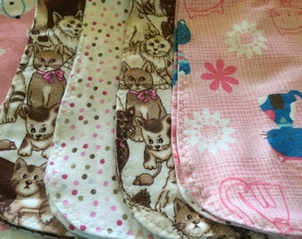5 Pack cats in pink burp cloths for girls