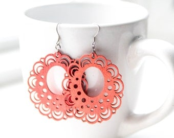 Coral Wooden Dangles
