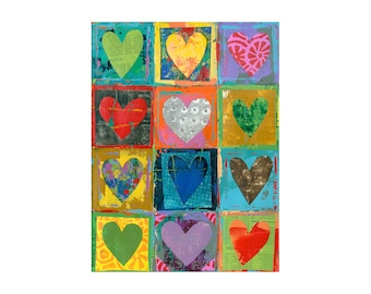 Heart Art, 9x12 primitive hearts, love art, nursery decor, palette knife, collage mixed media ORIGINAL Art by Elizabeth Rosen