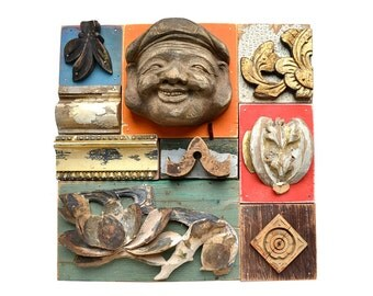 Vaguely Asian, mixed media assemblage, asian inspired, wood wall art, wood art, wood collage, by Elizabeth Rosen