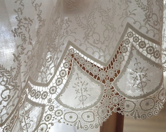 cotton lace fabric with hollowed out floral by the yard
