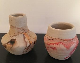 Pair of Small Nemadji Pottery Vases Peachy Brown Earth Tones