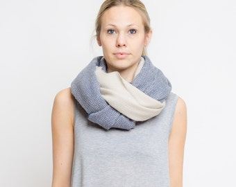 merino color block scarf // ocean - sand