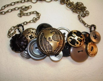 Button Necklace - VINTAGE button jewelry - Globe button -Gold Metal Buttons - Gray - Black - GLOBE TROTTER Too
