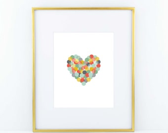 Confetti Heart Print- Coral, Red, Navy, Yellow, Green