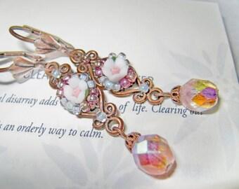 Vintage rose pinkish crystal earring