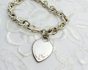 Heart Bracelet, VIntage Guess, Chunky Silver Tone, HALF OFF SALE , Item No. B074
