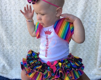Parley Ray Rainbow Happy Birthday All Around Ruffle Skirt and Shrug Bloomers/ Diaper Cover / Photo Props/ Cake Smash Outift