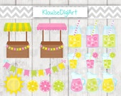 Summer Lemonade and Sunshine Digital Clipart in Yellow, Pink and Green - C0008