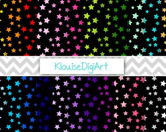 Rainbow Bright Multicolored Stars on Black Printable Digital Papers for Personal and Small Commercial Use (0169)