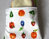 "Reusable sandwich bag, snack bag the very hungry caterpillar print 7""x6.5"""
