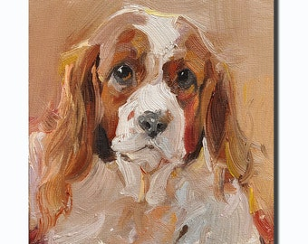 Western dog portrait Original oil Painting  on canvas panel 12CMX18CM