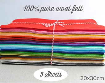 "100% wool felt sheets - 20x30cm (8x12""), choose 5 colours  - pure merino wool felt"