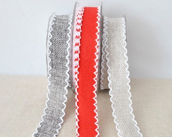 Crochet edged ribbon, 2m - choose your colour, felt ribbon, hopsack trim,