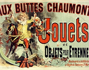 """Poster from """"Friends"""" televison show. Aux Buttes Chaumont toy advertisement by Cheret."""