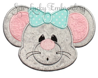 Cute Mouse Applique Embroidered Patch , Sew or Iron on