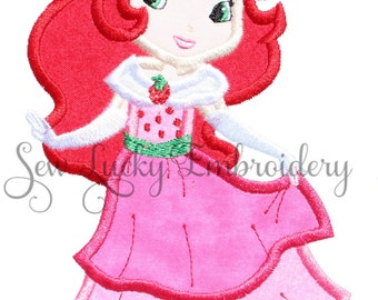 Strawberry Girl Applique Embroidered patch, Sew or Iron on