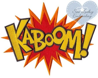 Superhero Power KABOOM Word Applique Embroidered Patch, Sew or Iron on
