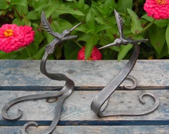Hand Forged Hummingbird Sculpture Garden Art, Blacksmith Made