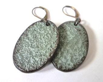 Concrete Rustic Handmade Oval Earrings, Simple Neutral Earrings, Everyday Jewelry for Bold Beautiful Women of 40, 50, 60, 70, Artisanal